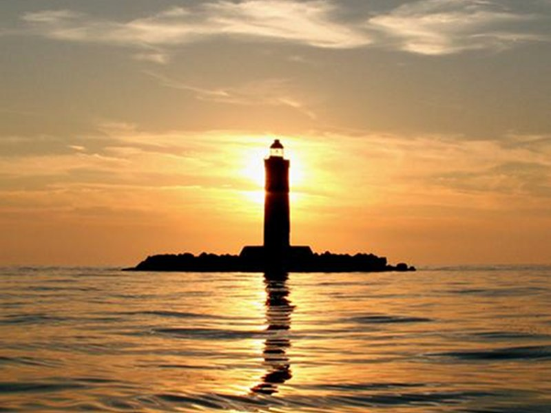 Sunset, lighthouse