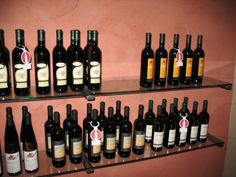 Erbaluce bottles in the Regional Wine Shop of the Province of Turin