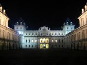 The western façade of Valentino Castle, at night