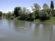 Canoeing along the river Po in Moncalieri