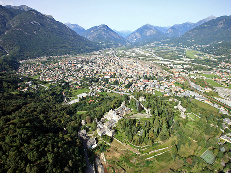 Aerial photo from the south-west of Colle di Mattarella and the town of Domodossola