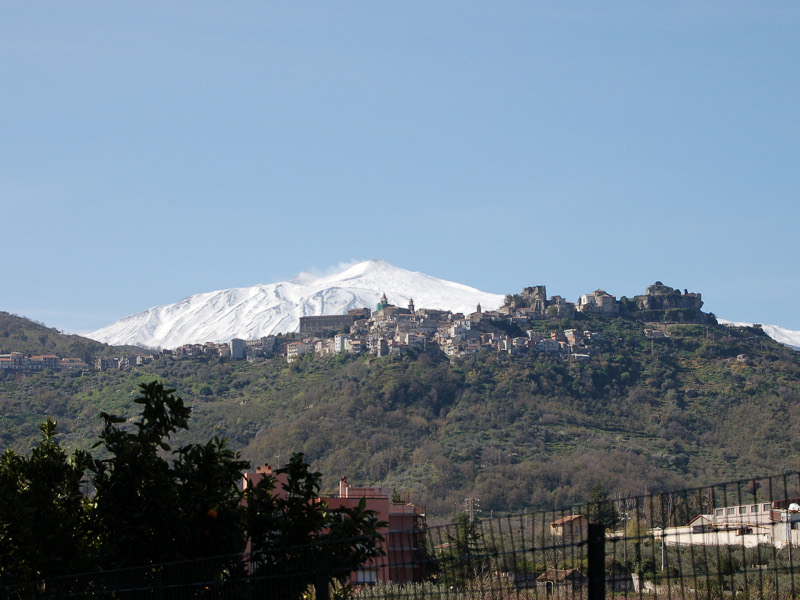 Etna and Castiglione di Sicilia seen from the Trail Le Gurne dell'Alcantara