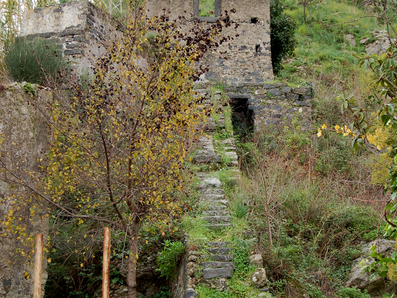 Rests of the hydroelectric power plant (1896) along the Trail Le Gurne dell'Alcantara