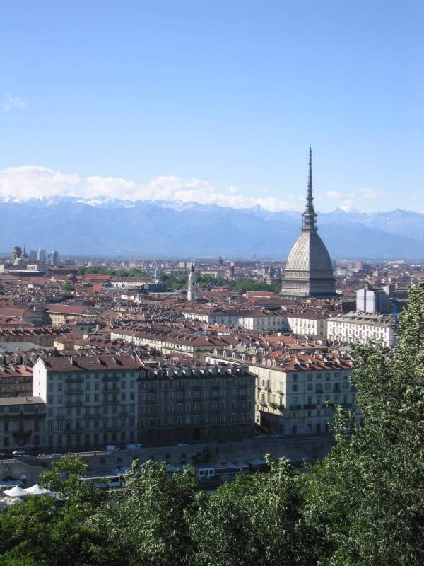 Piazza Vittorio Veneto, Mole, and the Graian Alps, seen from Monte dei Cappuccini in Turin