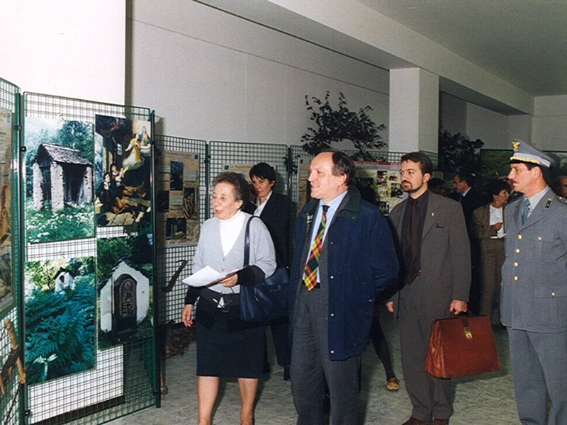 Meeting 'Sport and Tourism' (1999): the Minister of the Environment Edo Ronchi with the Park President Franca Olmi, the Director Giuliano Tallone, and the commanding officer of CTA Stelvio de Stefani