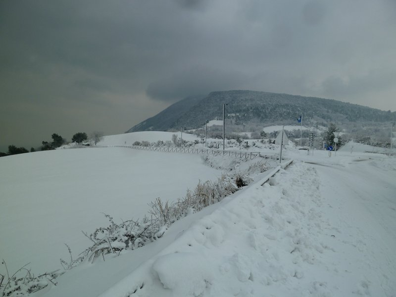 Winter panoramic view with the Conero Mount in the background